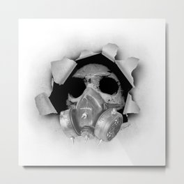 Gas Mask Skull Metal Print
