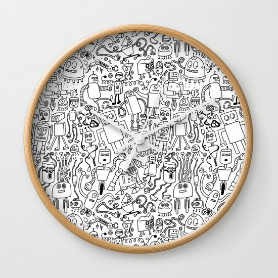Infinity Robots Black & White Wall Clock