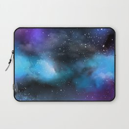 Navy Blue & Purple Glitter Cosmo Watercolor Galaxy Painting Laptop Sleeve