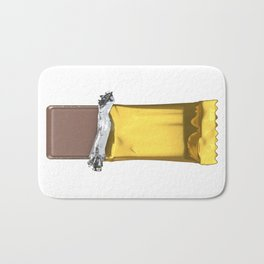 Chocolate candy bar in gold wrapper Bath Mat