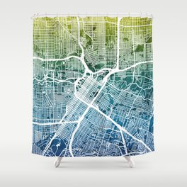 Houston Texas City Street Map Shower Curtain