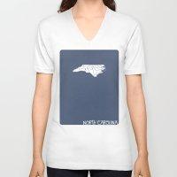 north carolina V-neck T-shirts featuring North Carolina Minimalist Vintage Map by Finlay McNevin