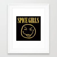 spice girls Framed Art Prints featuring SPICE GIRLS (Grunge Tee) by Eric Terino