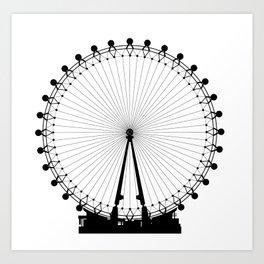 London Wheel Silhouette Art Print
