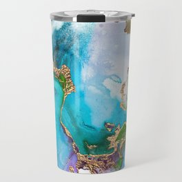 Abstract Marble Mermaid Gemstone With Gold Glitter Travel Mug