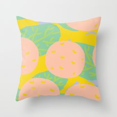Pink Oranges Throw Pillow
