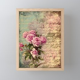 French country chic, rustic, collage, roses,vintage parchment,victorian,belle époque Framed Mini Art Print