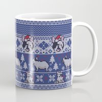 frenchie Mugs featuring Christmas Frenchie by Huebucket