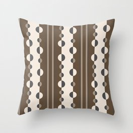 Geometric Circles and Stripes in Brown and Tan Throw Pillow