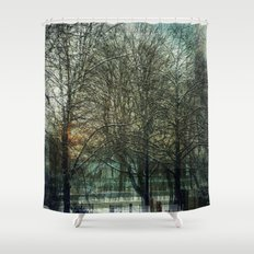 A layered view Shower Curtain