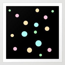 Floating Pastel Candies on Black Art Print