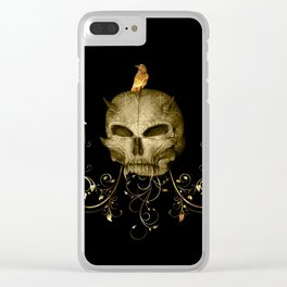 Golden skull with crow Clear iPhone Case