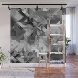 Black / White and Gray Scale Geometric Geometry Shape Pattern Wall Mural