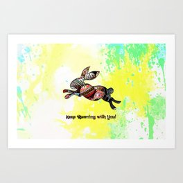 Happy Easter Rabbit - Keep Runing with You Art Print