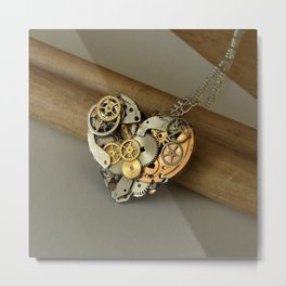 Steampunk Heart of Gold and Silver Metal Print