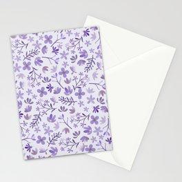 Purple Watercolor Flowers on Purple Stationery Cards