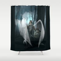 verse Shower Curtains featuring Reverse!verse Purgatory by Justyna Rerak