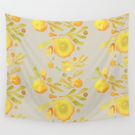 Granada Floral in Yellow on grey Wall Tapestry