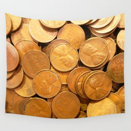 Watercolor Coins, Lincoln Wheat Pennies, 1948 02 Wall Tapestry