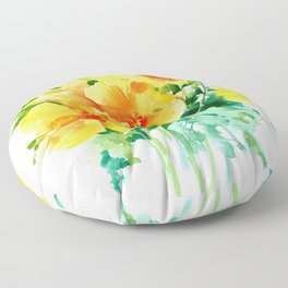 California Poppies, floral home decor Floor Pillow