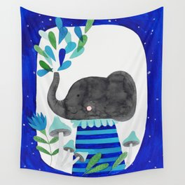 elephant with raindrops in blue watercolor illustration Wall Tapestry