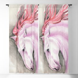 Purple Pink Andalusian Horse Equine Watercolor Art Blackout Curtain