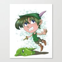 peter pan Canvas Prints featuring Peter Pan by EY Cartoons