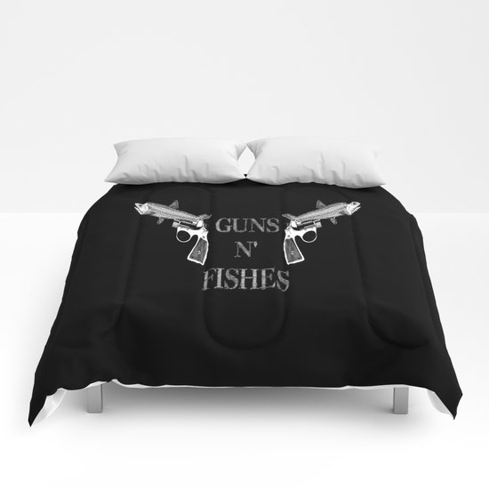 Guns n' Fishes black Comforters