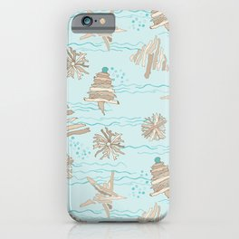 Christmas Holiday Driftwood Tree, Star and Snowflake in Ocean iPhone Case