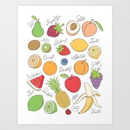Fruit Doodles Art Print