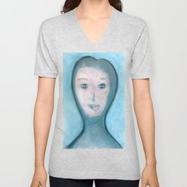 Spiritual Chalks Drawing of The Visitor, Welcome To Stay Unisex V-Neck