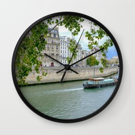 River Barge on Seine River in Paris France Wall Clock