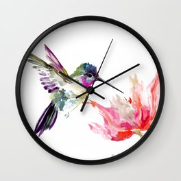 Little Hummingbird and Pink Flower, Bird art, minimalist bird painting, soft pink olive green design Wall Clock