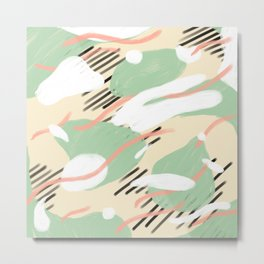 Abstract Pattern - Mint and Cream Metal Print