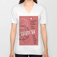 switzerland V-neck T-shirts featuring World Cup: Switzerland 1954 by James Campbell Taylor