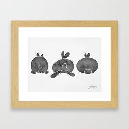 Bunny Butts - Black Palette Framed Art Print