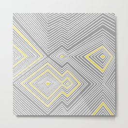 White, Yellow, and Gray Lines - Illusion Metal Print