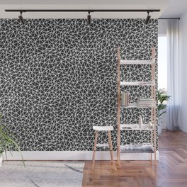 Abstract Multi Sized Triangle Shape Pattern Mod Triangles Black and White Wall Mural