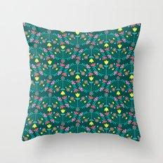 Folk Flowers Green Throw Pillow