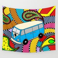 vw bus Wall Tapestries featuring Trippy VW-Style Love Bus Campervan - Blue by Carrie at Dendryad Art