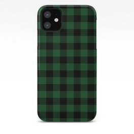 Jumbo Forest Green and Black Rustic Cowboy Cabin Buffalo Check iPhone Case