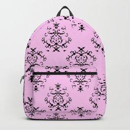 Royal Damask, Ornaments, Swirls - Pink Black Backpack