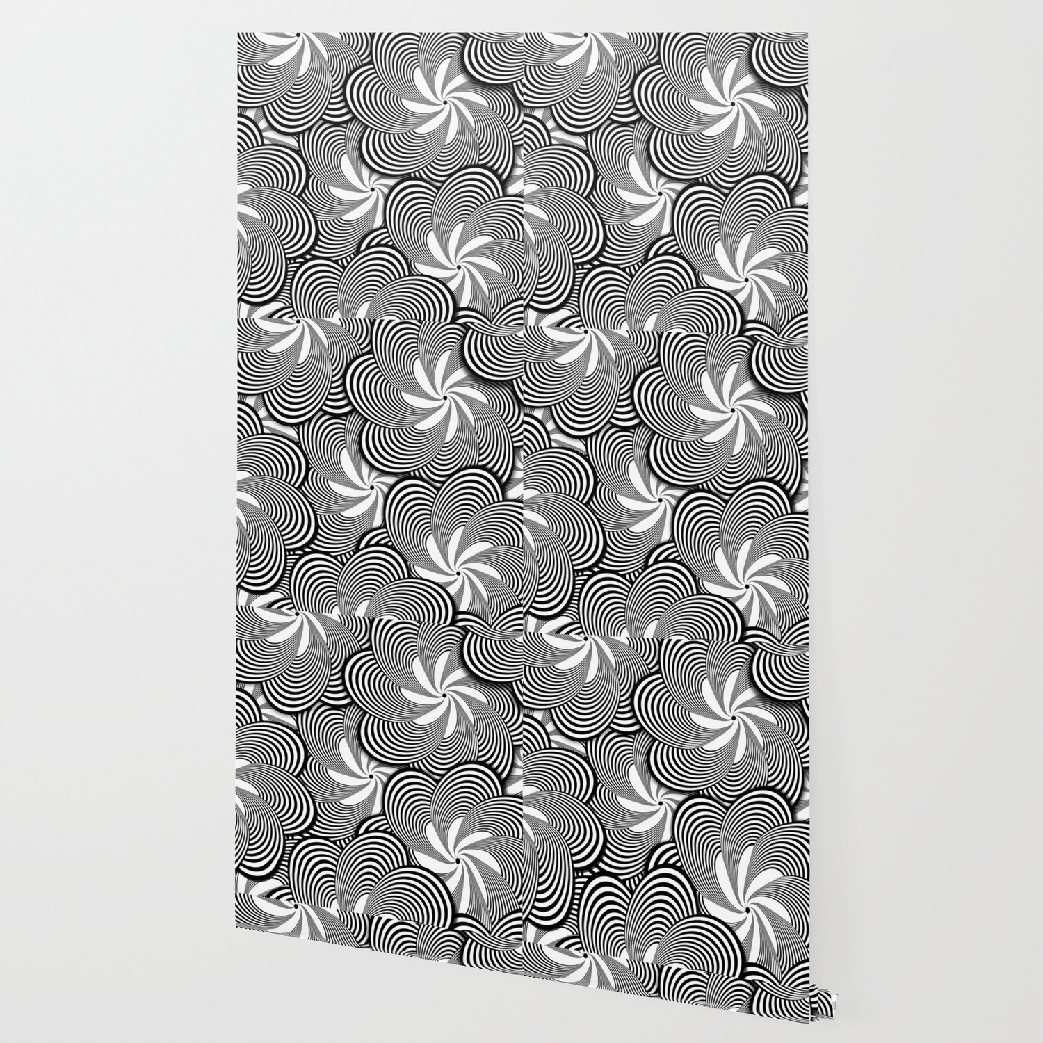 Fun Black And White Flower Pattern Digital Illustration