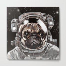Astronaut Pug Selfie Metal Print