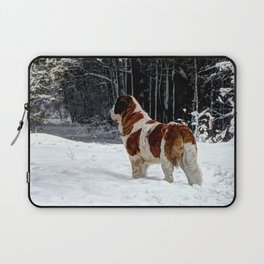 St Bernard in the snow Laptop Sleeve