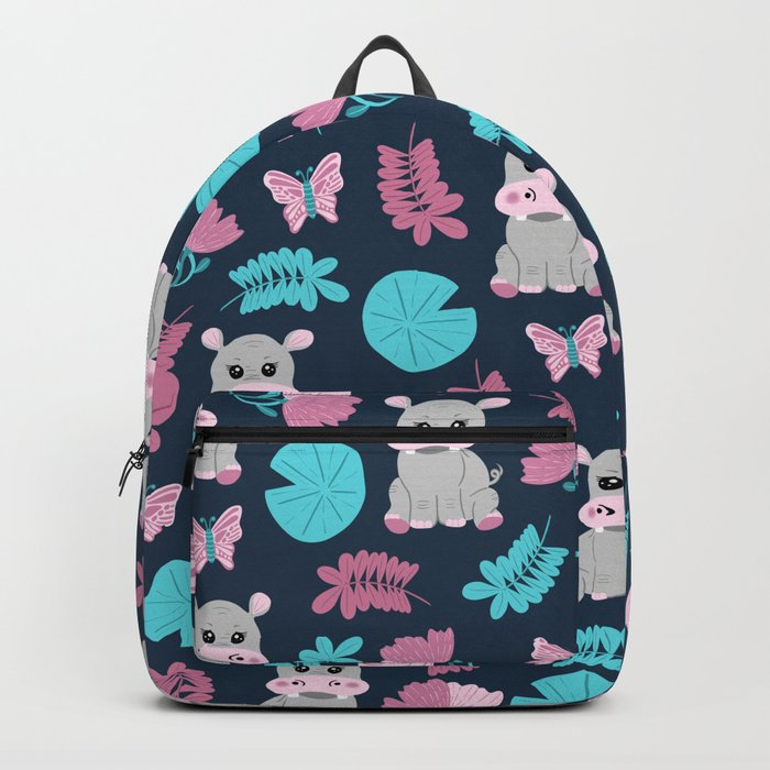 Cute Pink Teal Hippo Floral Butterfly Lily Pad Backpack