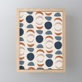 Moon Phases Pattern in blue, terracotta, pink Framed Mini Art Print