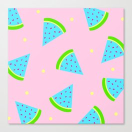 Watermelon in Pastel Neon | Watermelon Seed | Watermelon Home Decor | pulps of wood Canvas Print