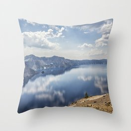 Crater Lake with a view of the Phantom Ship Throw Pillow