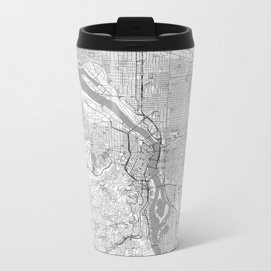 Portland City Map Line Metal Travel Mug